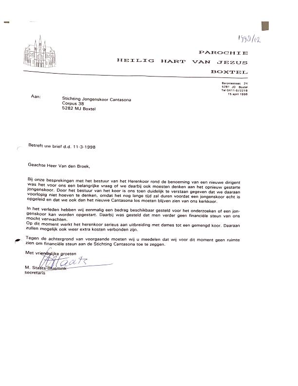 1998 Reactie Kerkbestuur – uitleg geen vergoeding voor dirigent