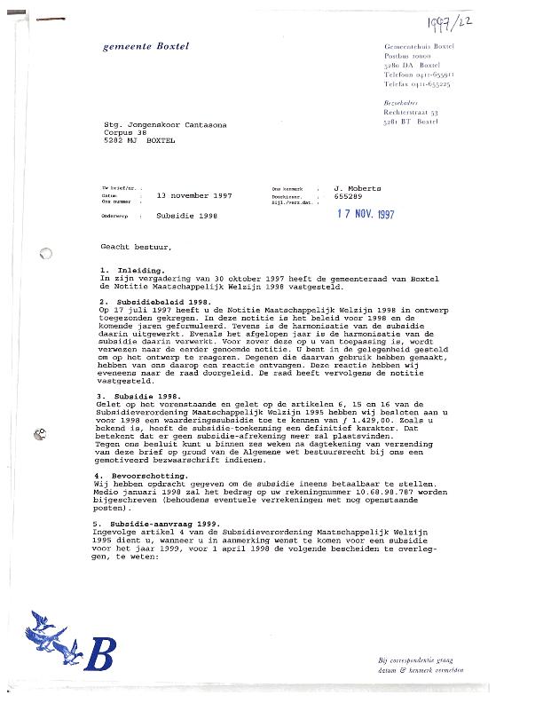 1998 Subsidie Gemeente Boxtel