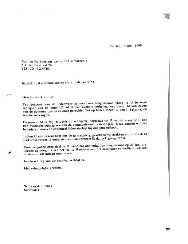1998 april brief aan kerkbestuur mbt lijst communicanten voor werving