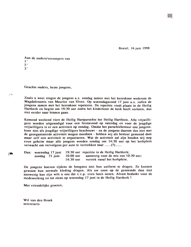 1998 juni Brief ouders over repetities ed nieuwe Magdalena mis
