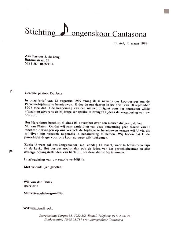 1998 maart Brief aan kerkbestuur inzake bijdrage – nadere uitleg dirigent