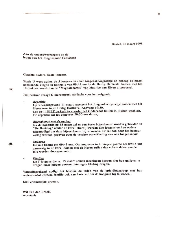 1998 maart Repetitieschema