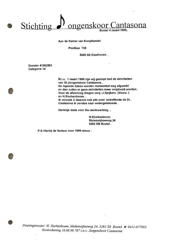 1999 4 maart Brief Jongenskoor naar KvK ivm stoppen Cantasona per 1 maart 1999