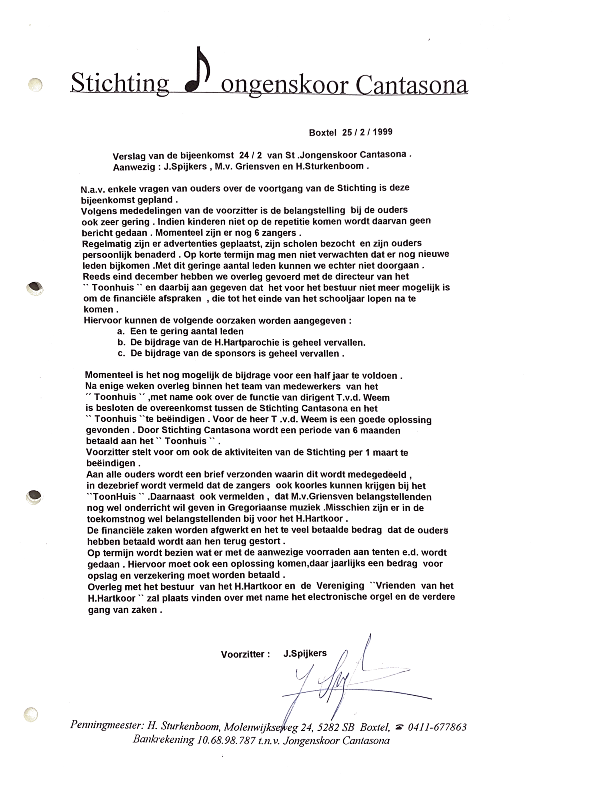 1999 Verslag bijeenkomst 25-2-1999 bestuur beeindigen Jongenskoor
