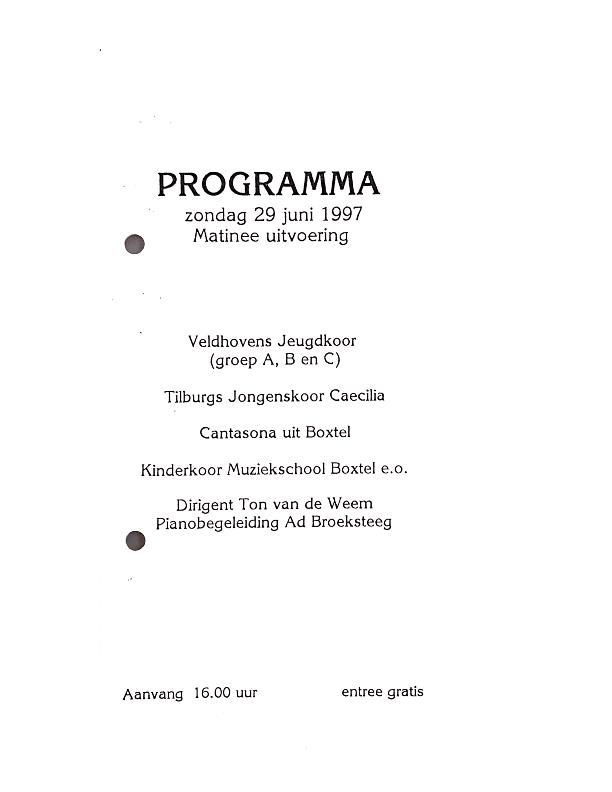 1997 29 juni  Programma Matinee Uitvoering