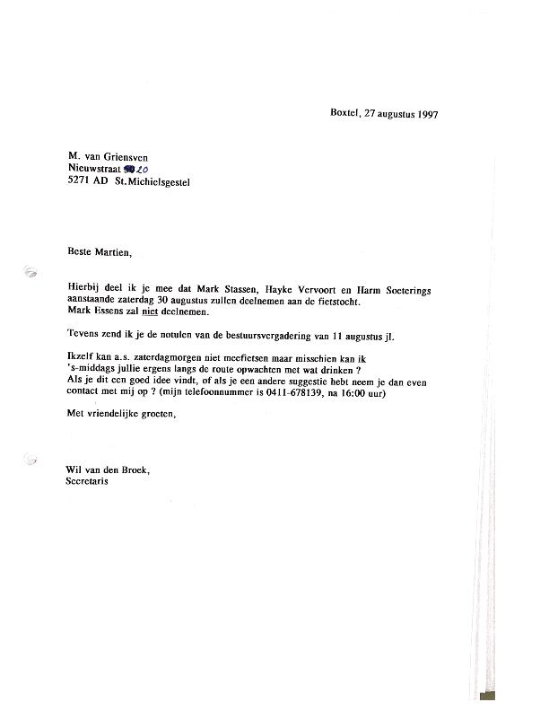 1997 brief fietstocht
