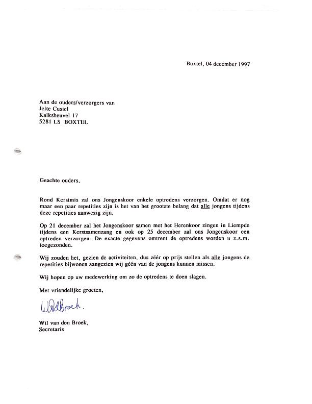 1997 brief ouders Kerst en optreden