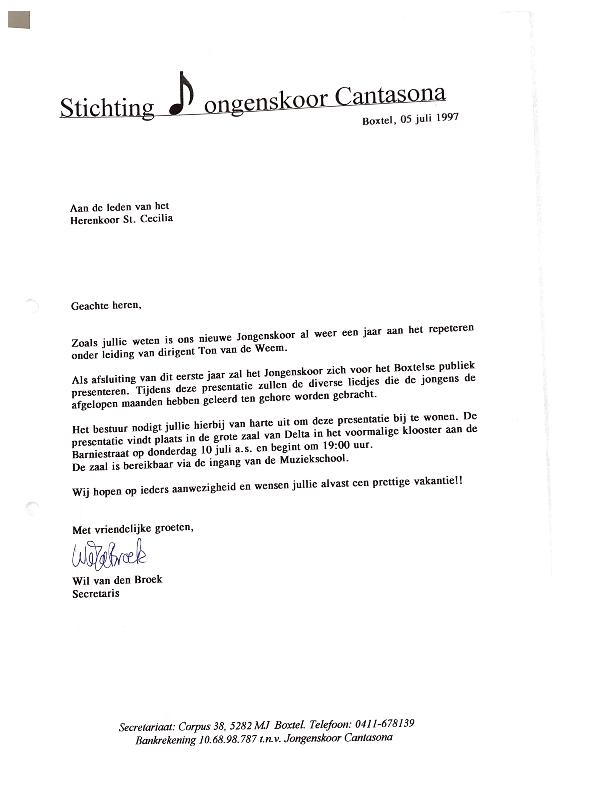 1997 brief Herenkoor uitnodiging optreden jongenskoor