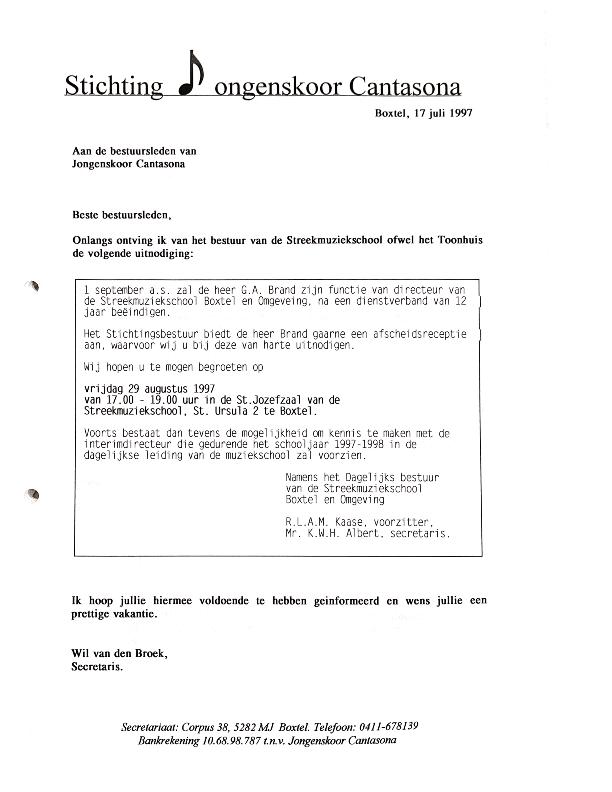 1997 brief aan bestuur inzake afscheid Boyke Brand