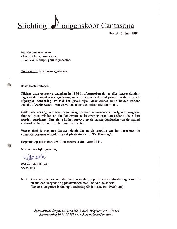 1997 bestuursvergaderingen