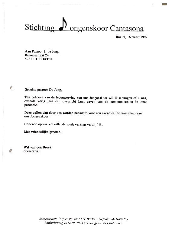 1997 maart brief naar pastoor voor lijst communicanten