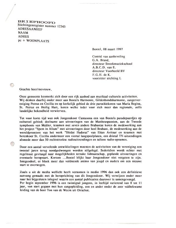 1997 maart voorbeeldbrief inzake heroprichting voor commissie van aanbeveling
