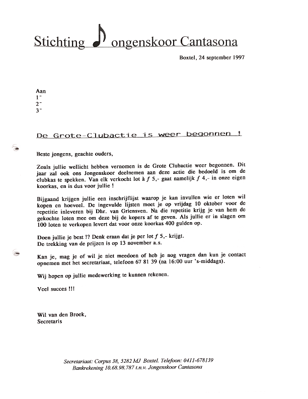 1997 september Brief Grote Clubactie