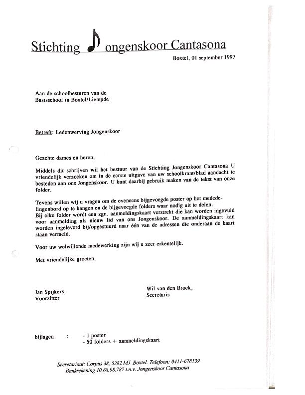 1997 september Brief basisscholen voor werving
