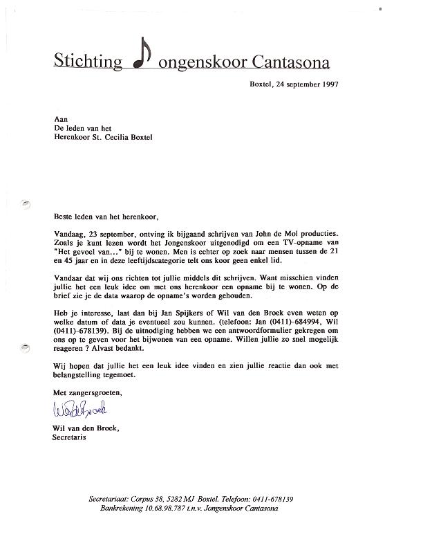 1997 september brief Herenkoor mbt TV programma Het Gevoel van
